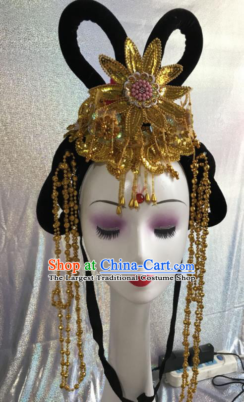 Chinese Traditional Beijing Opera Nobility Lady Wigs and Golden Tassel Hairpins Peking Opera Princess Hair Accessories for Women