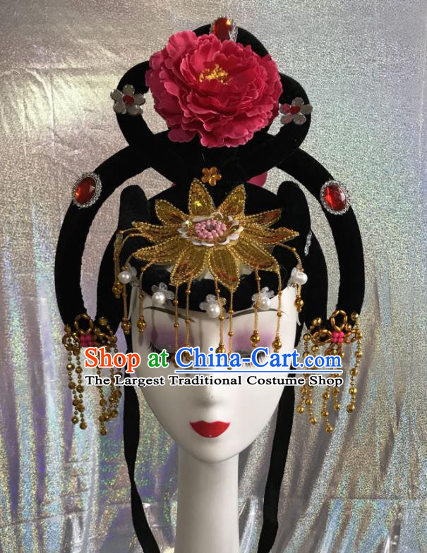 Chinese Traditional Beijing Opera Court Maid Wigs and Tassel Hairpins Peking Opera Princess Hair Accessories for Women