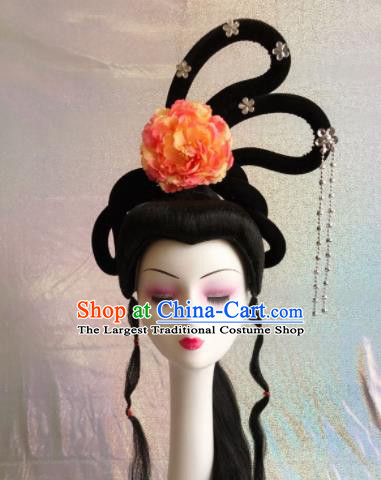 Chinese Traditional Beijing Opera Court Princess Hairpins Wigs Sheath Peking Opera Peri Hair Accessories for Women