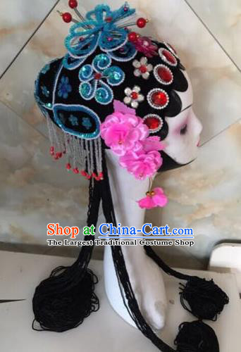 Chinese Traditional Beijing Opera Blue Butterfly Hairpins and Wigs Sheath Peking Opera Princess Hair Accessories for Women