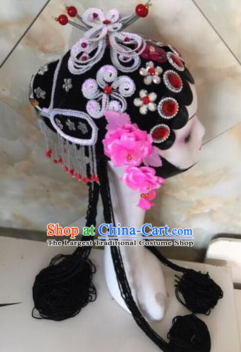 Chinese Traditional Beijing Opera White Butterfly Hairpins and Wigs Sheath Peking Opera Princess Hair Accessories for Women
