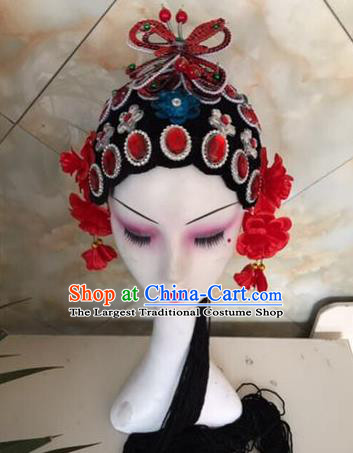 Chinese Traditional Beijing Opera Red Butterfly Hairpins and Wigs Sheath Peking Opera Princess Hair Accessories for Women