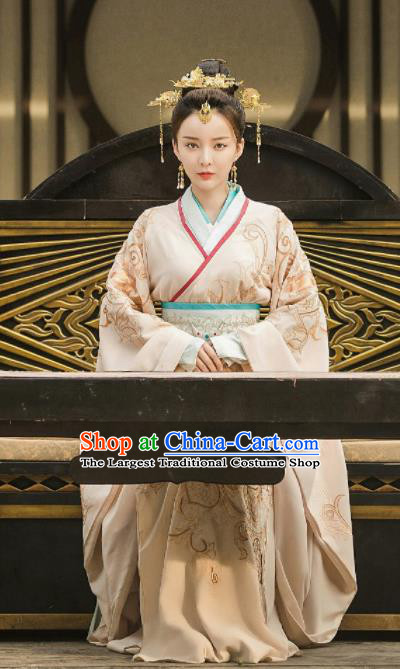 Drama Queen Dugu Chinese Sui Dynasty Princess Consort Hanfu Dress Ancient Historical Costume and Headpiece for Women