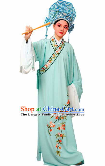 Chinese Traditional Peking Opera Niche Embroidered Cherrim Green Robe Beijing Opera Scholar Costume for Men