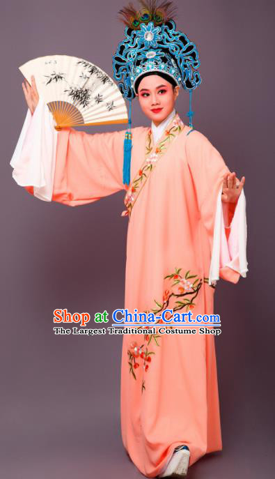 Chinese Traditional Peking Opera Niche Embroidered Cherrim Orange Robe Beijing Opera Scholar Costume for Men