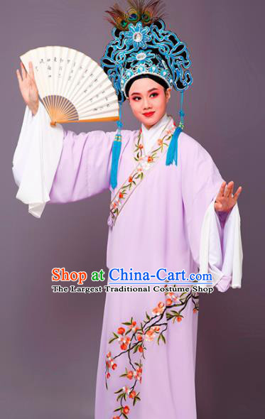 Chinese Traditional Peking Opera Niche Embroidered Cherrim Purple Robe Beijing Opera Scholar Costume for Men