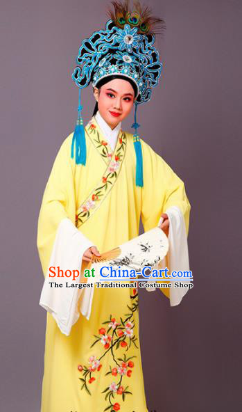 Chinese Traditional Peking Opera Niche Embroidered Cherrim Yellow Robe Beijing Opera Scholar Costume for Men