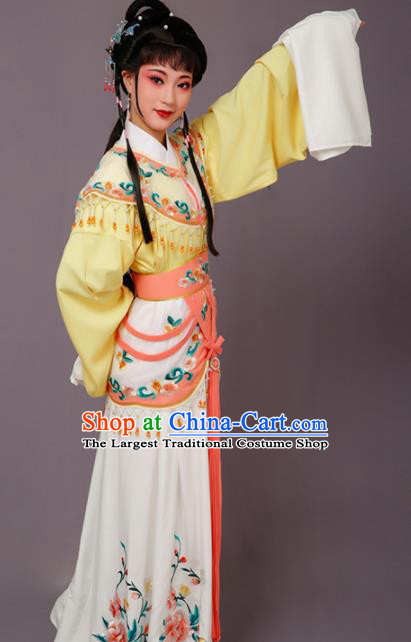 Chinese Traditional Beijing Opera Hua Dan Costume Peking Opera Princess Yellow Dress for Women