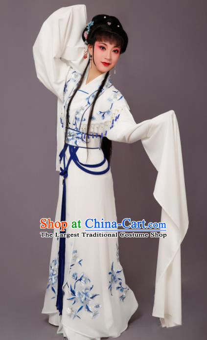Chinese Traditional Peking Opera Princess White Dress Beijing Opera Hua Dan Costume for Women