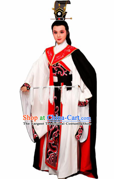 Chinese Traditional Peking Opera Prince White Robe Beijing Opera Niche Embroidered Costume for Men