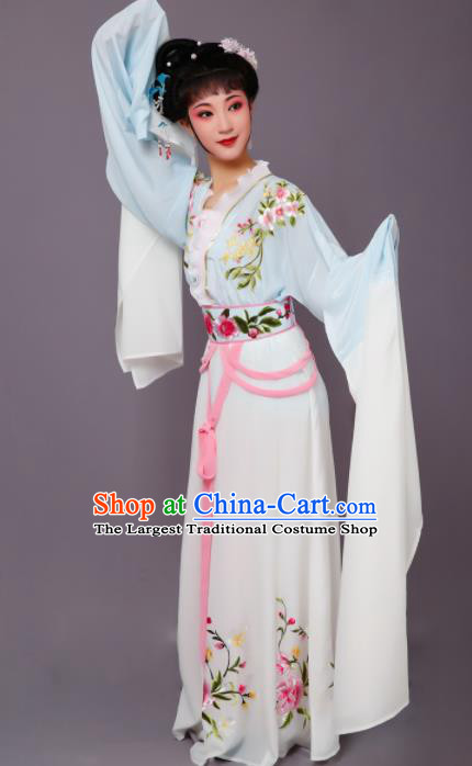 Chinese Traditional Peking Opera Nobility Lady Blue Dress Beijing Opera Hua Dan Costume for Women