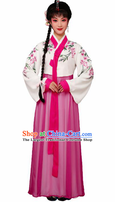Chinese Traditional Huangmei Opera Embroidered Rosy Dress Beijing Opera Hua Dan Costume for Women