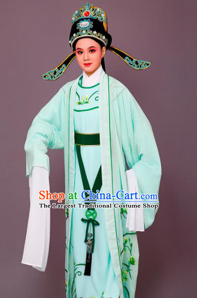 Chinese Traditional Peking Opera Embroidered Orchid Green Robe Beijing Opera Niche Costume for Men