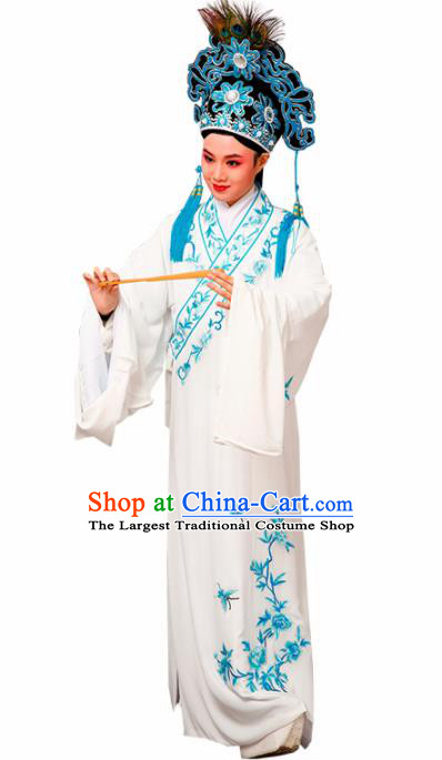 Chinese Traditional Peking Opera Scholar Embroidered Peony White Robe Beijing Opera Niche Costume for Men