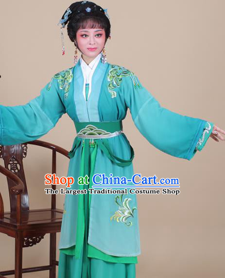 Chinese Traditional Shaoxing Opera Swordswoman Green Dress Beijing Opera Hua Dan Embroidered Costume for Women