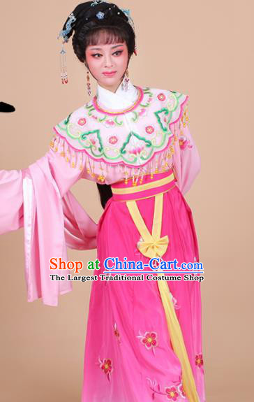 Chinese Traditional Shaoxing Opera Peri Princess Rosy Embroidered Dress Beijing Opera Hua Dan Costume for Women