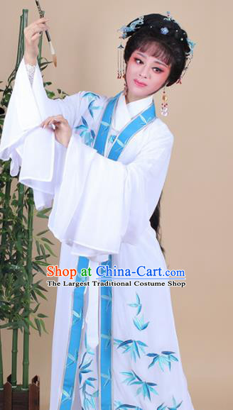 Chinese Traditional Shaoxing Opera Peri Embroidered Bamboo Dress Beijing Opera Hua Dan Costume for Women