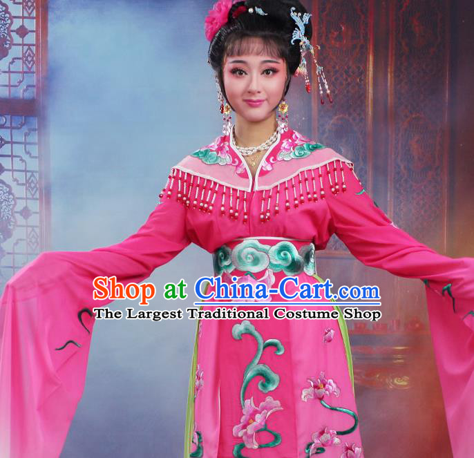 Chinese Traditional Huangmei Opera Peri Embroidered Rosy Dress Beijing Opera Hua Dan Costume for Women