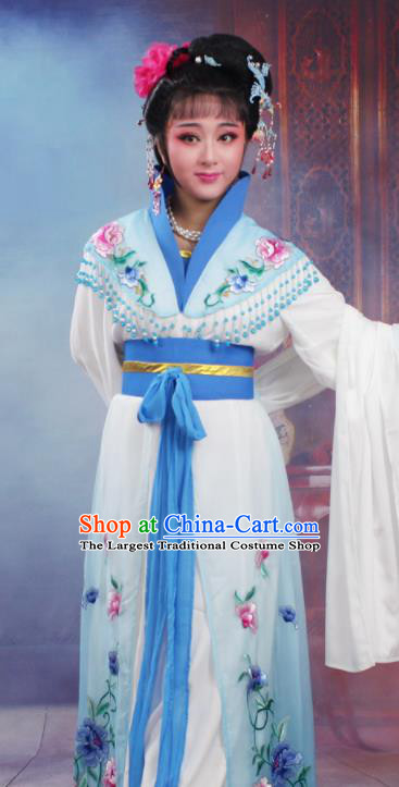 Chinese Traditional Huangmei Opera Nobility Lady Embroidered Blue Dress Beijing Opera Hua Dan Costume for Women