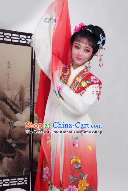 Chinese Traditional Huangmei Opera Embroidered Red Dress Beijing Opera Hua Dan Costume for Women