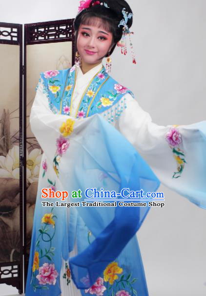 Chinese Traditional Huangmei Opera Embroidered Blue Dress Beijing Opera Hua Dan Costume for Women
