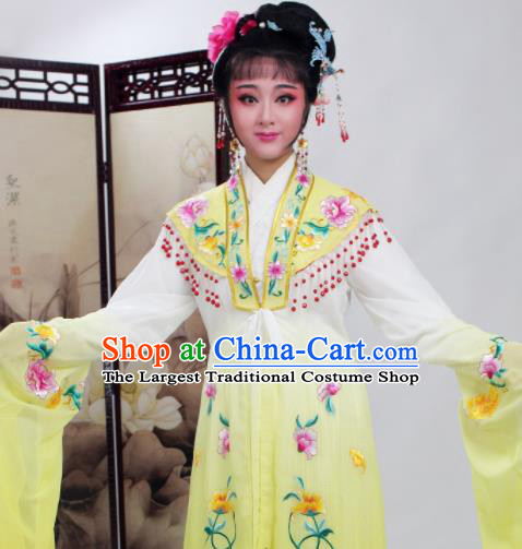 Chinese Traditional Huangmei Opera Embroidered Yellow Dress Beijing Opera Hua Dan Costume for Women
