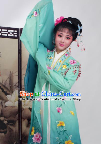 Chinese Traditional Huangmei Opera Embroidered Deep Green Dress Beijing Opera Hua Dan Costume for Women
