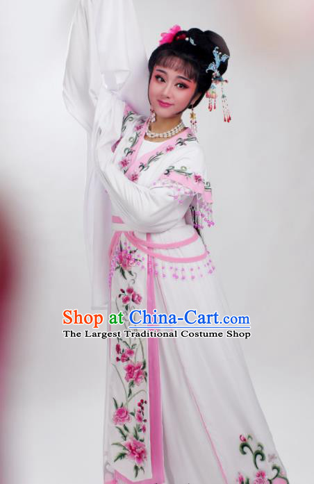 Chinese Traditional Huangmei Opera Embroidered Pink Peony Dress Beijing Opera Hua Dan Costume for Women