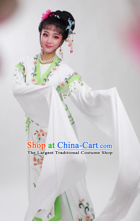 Chinese Traditional Huangmei Opera Embroidered Green Peony Dress Beijing Opera Hua Dan Costume for Women