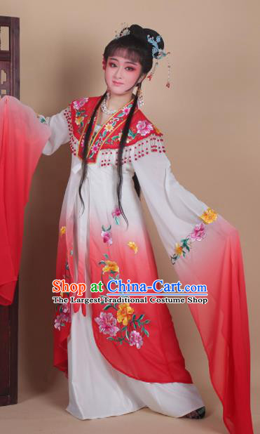 Chinese Traditional Huangmei Opera Actress Embroidered Red Dress Beijing Opera Hua Dan Costume for Women