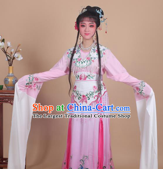 Chinese Traditional Huangmei Opera Nobility Lady Embroidered Pink Dress Beijing Opera Hua Dan Costume for Women