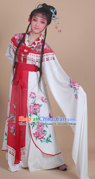 Chinese Traditional Shaoxing Opera Nobility Lady Embroidered Red Dress Beijing Opera Hua Dan Costume for Women
