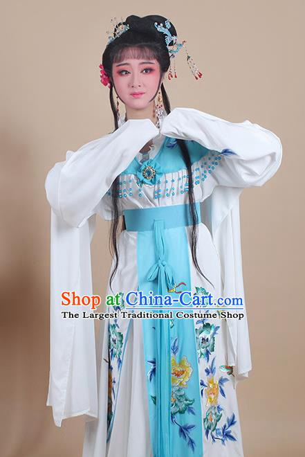 Chinese Traditional Shaoxing Opera Nobility Lady Embroidered Blue Dress Beijing Opera Hua Dan Costume for Women