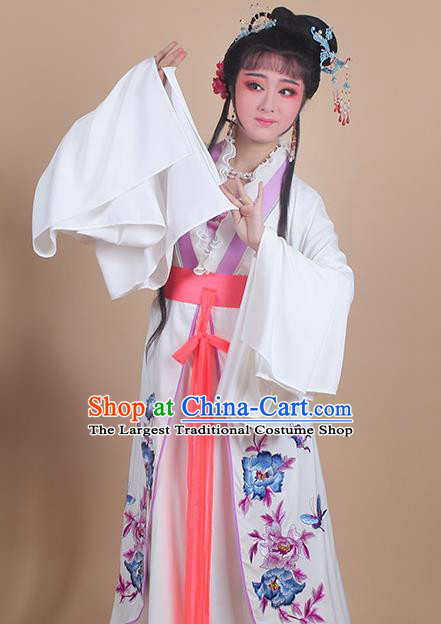Chinese Traditional Shaoxing Opera Embroidered Peony Purple Dress Beijing Opera Hua Dan Costume for Women