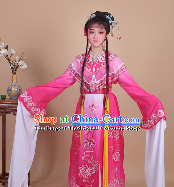 Chinese Traditional Shaoxing Opera Peri Embroidered Rosy Dress Beijing Opera Princess Hua Dan Costume for Women