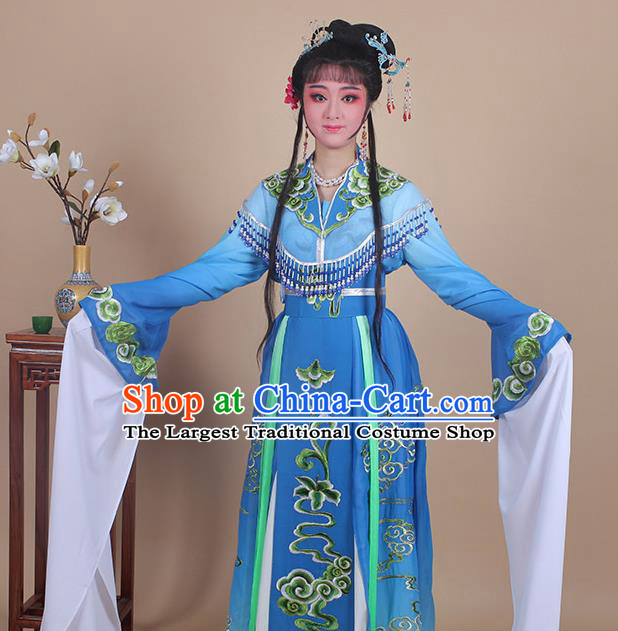 Chinese Traditional Shaoxing Opera Peri Embroidered Royalblue Dress Beijing Opera Princess Hua Dan Costume for Women