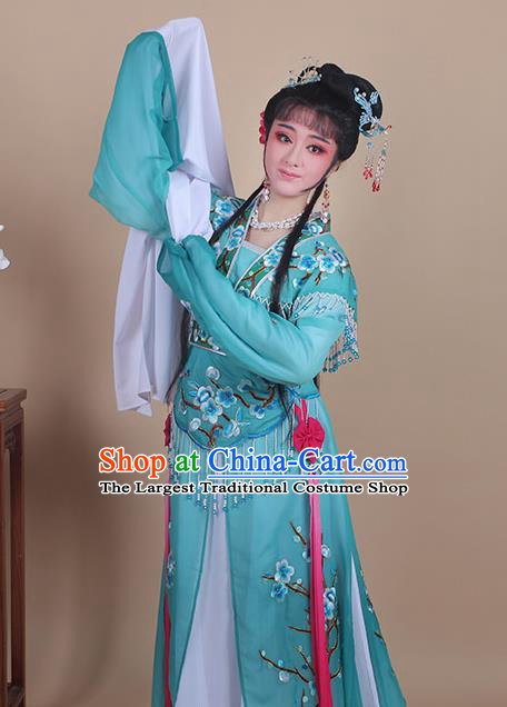 Chinese Traditional Shaoxing Opera Embroidered Plum Blossom Green Dress Beijing Opera Princess Hua Dan Costume for Women