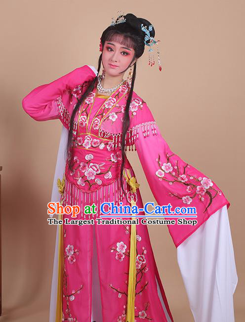 Chinese Traditional Shaoxing Opera Embroidered Plum Blossom Rosy Dress Beijing Opera Princess Hua Dan Costume for Women