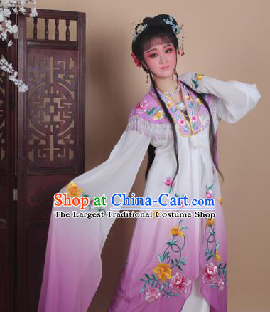 Chinese Traditional Huangmei Opera Actress Embroidered Purple Dress Beijing Opera Hua Dan Costume for Women