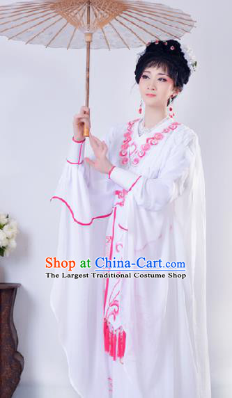 Chinese Traditional Shaoxing Opera Swordswoman Embroidered White Dress Beijing Opera Princess Hua Dan Costume for Women