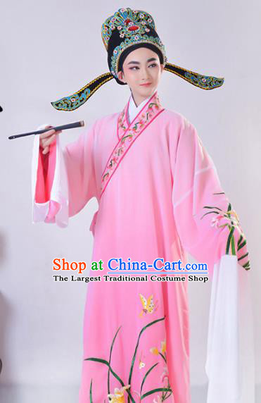 Chinese Traditional Peking Opera Gifted Scholar Embroidered Orchid Pink Robe Beijing Opera Niche Costume for Men