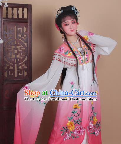 Chinese Traditional Huangmei Opera Actress Embroidered Pink Dress Beijing Opera Hua Dan Costume for Women