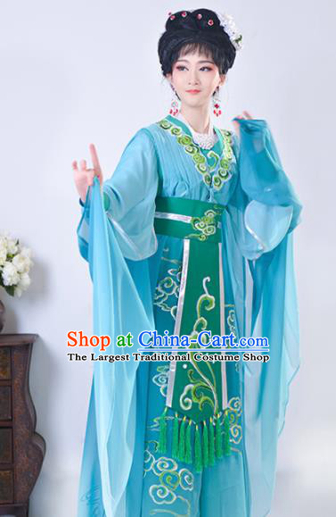 Chinese Traditional Shaoxing Opera Swordswoman Embroidered Green Dress Beijing Opera Princess Hua Dan Costume for Women