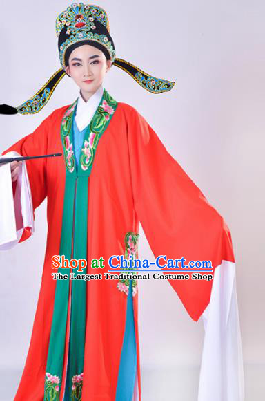 Chinese Traditional Peking Opera Gifted Scholar Embroidered Red Robe Beijing Opera Niche Costume for Men