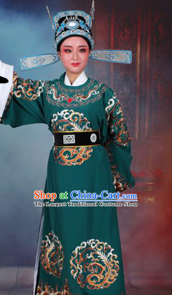 Chinese Traditional Peking Opera Number One Scholar Green Embroidered Robe Beijing Opera Niche Costume for Men