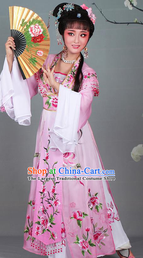 Chinese Traditional Shaoxing Opera Hua Dan Embroidered Pink Dress Beijing Opera Nobility Lady Costume for Women