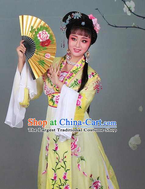 Chinese Traditional Shaoxing Opera Hua Dan Embroidered Yellow Dress Beijing Opera Nobility Lady Costume for Women