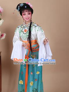 Chinese Traditional Shaoxing Opera Zhu Yingtai Green Dress Beijing Opera Hua Dan Embroidered Costume for Women