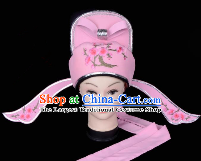 Chinese Traditional Beijing Opera Gifted Scholar Headwear Peking Opera Niche Pink Hat for Men