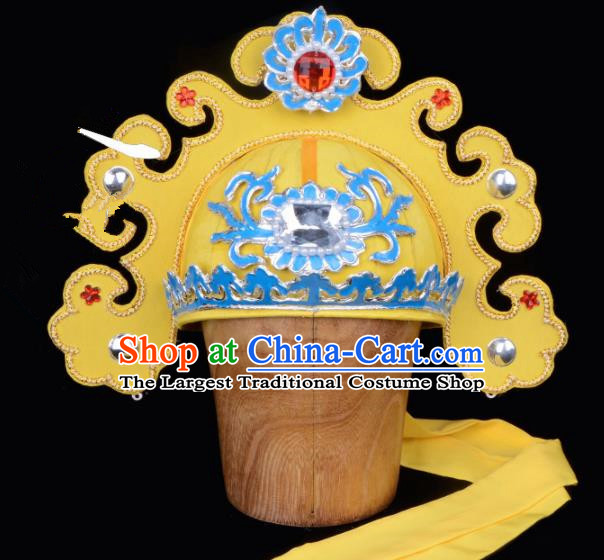 Chinese Traditional Beijing Opera Gifted Scholar Headwear Peking Opera Niche Yellow Hat for Men